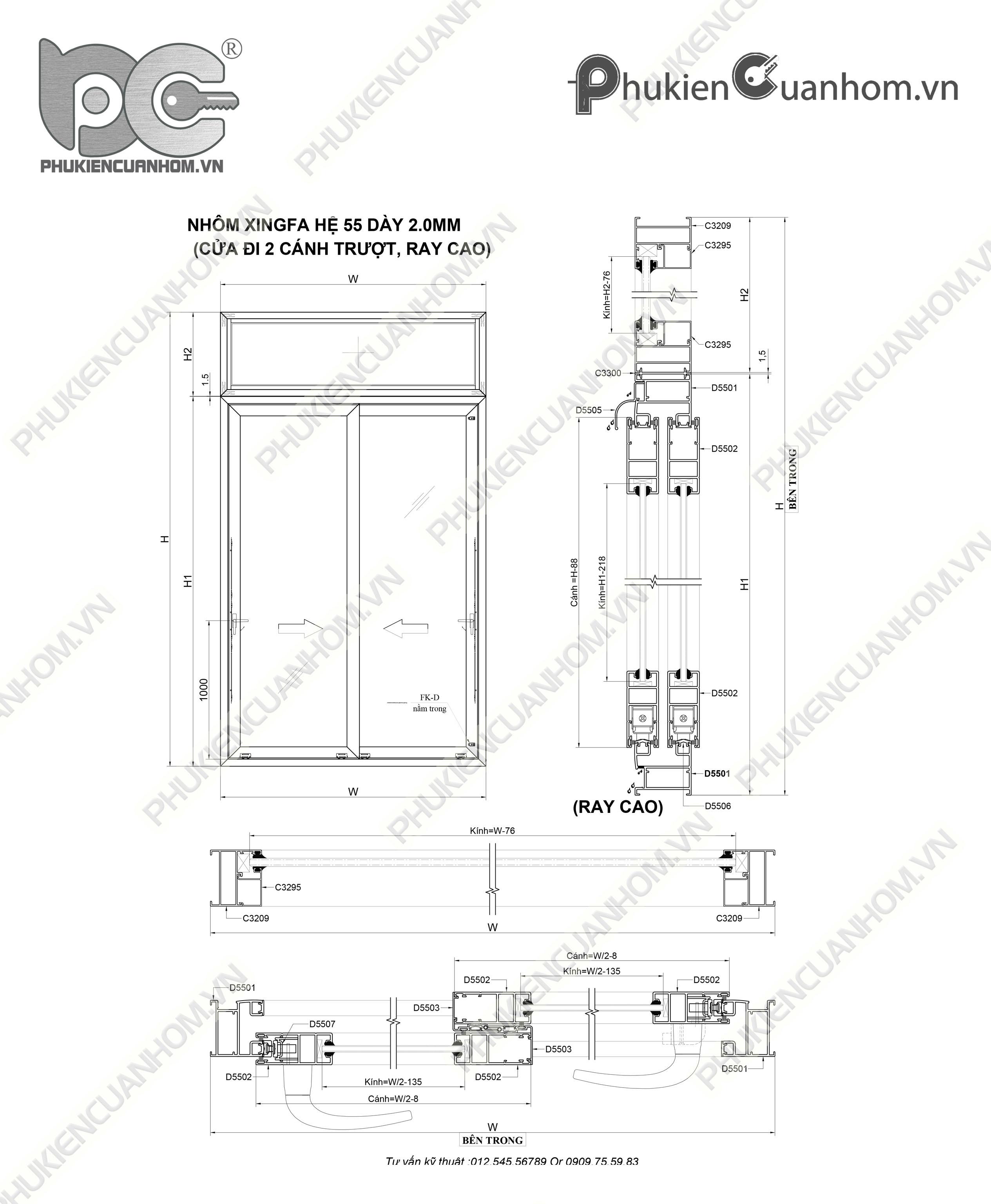 Cách trừ cửa đi lùa hệ 55 dày 2,0mm nhôm Xingfa nhập khẩu