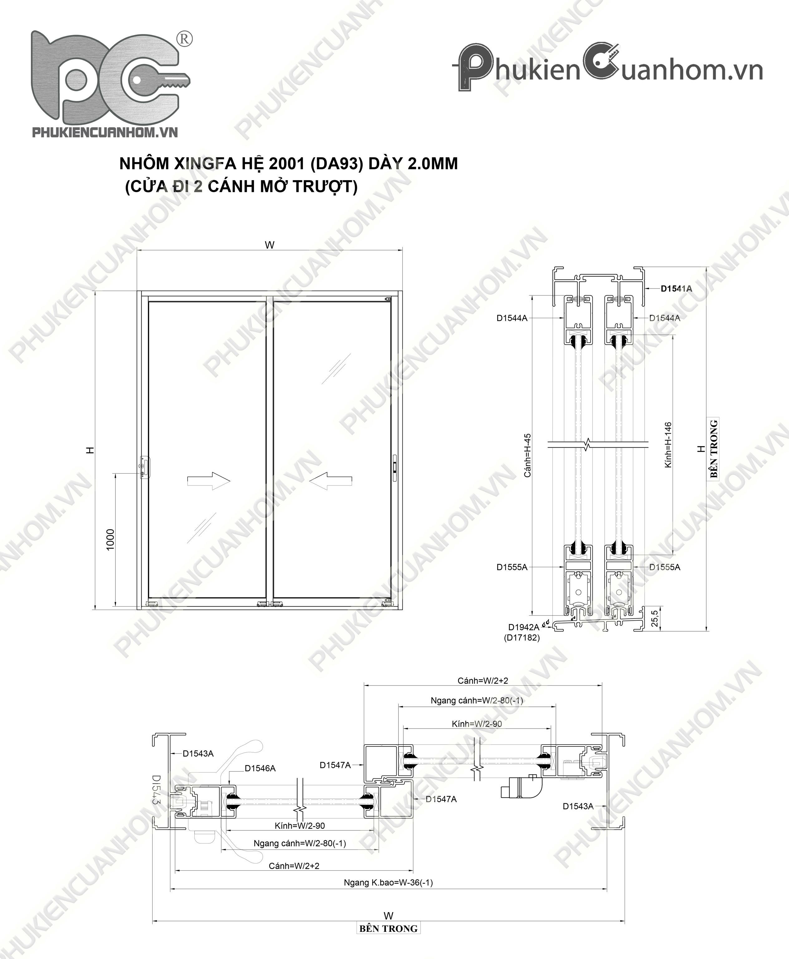 Công thức trừ cánh cửa đi lùa nhôm Xingfa hệ 2001 (93)