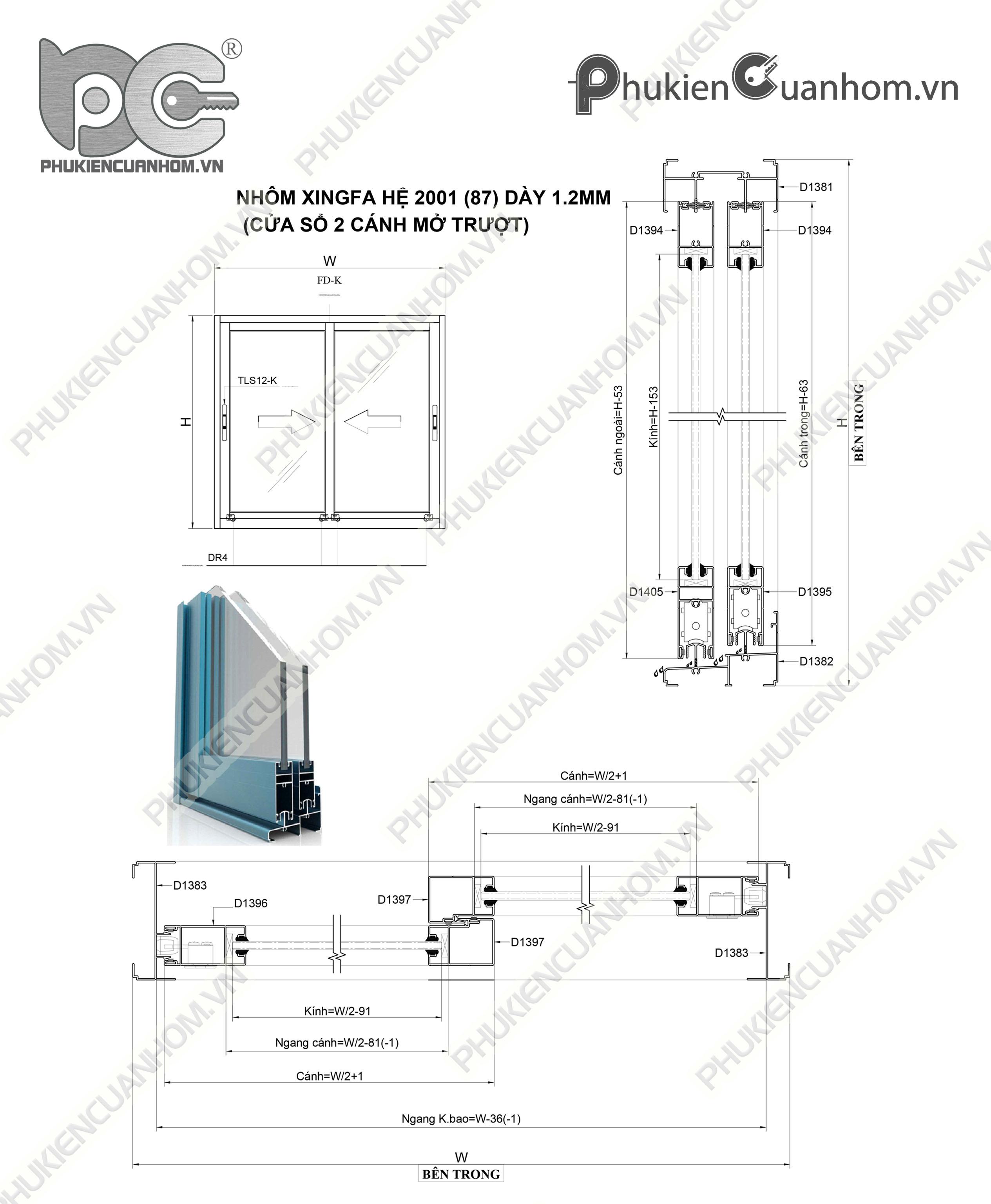 Cách trừ cánh cửa lùa nhôm Xingfa hệ 2001 (87)
