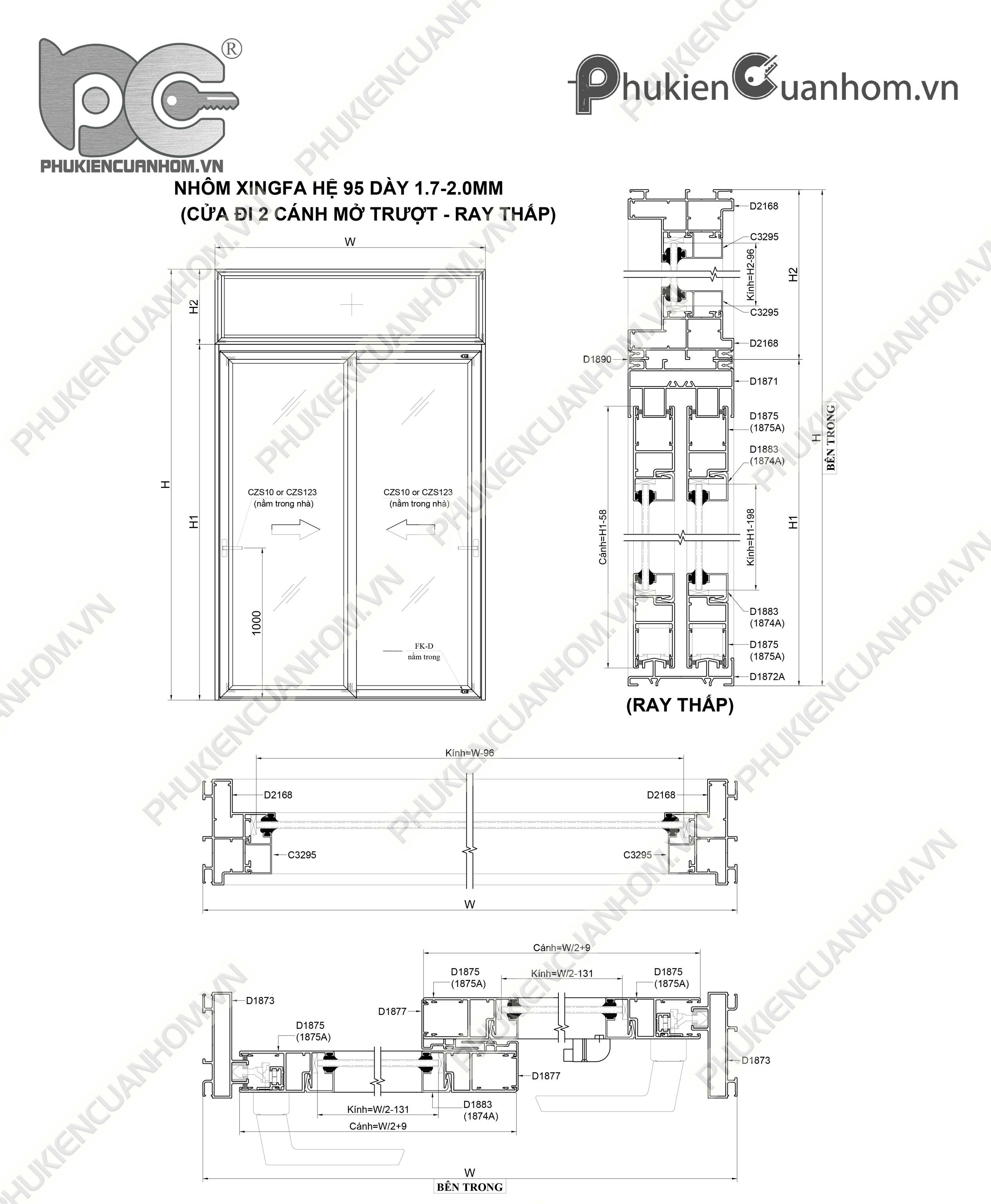 Cách trừ cánh cửa lùa nhôm Xingfa hệ SC95
