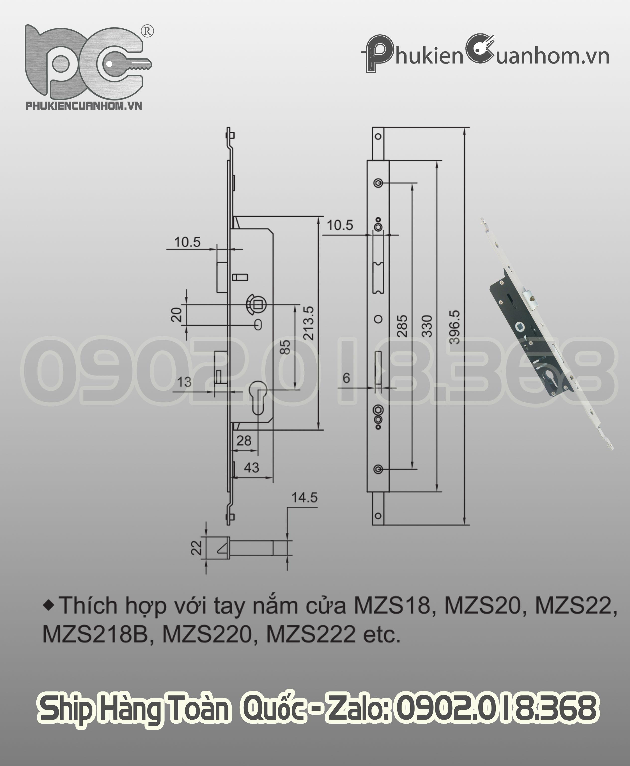 Thân khóa đa điểm cửa đi nhôm Xingfa hệ 55 hiệu KinLong chính hãng - MSC28/I