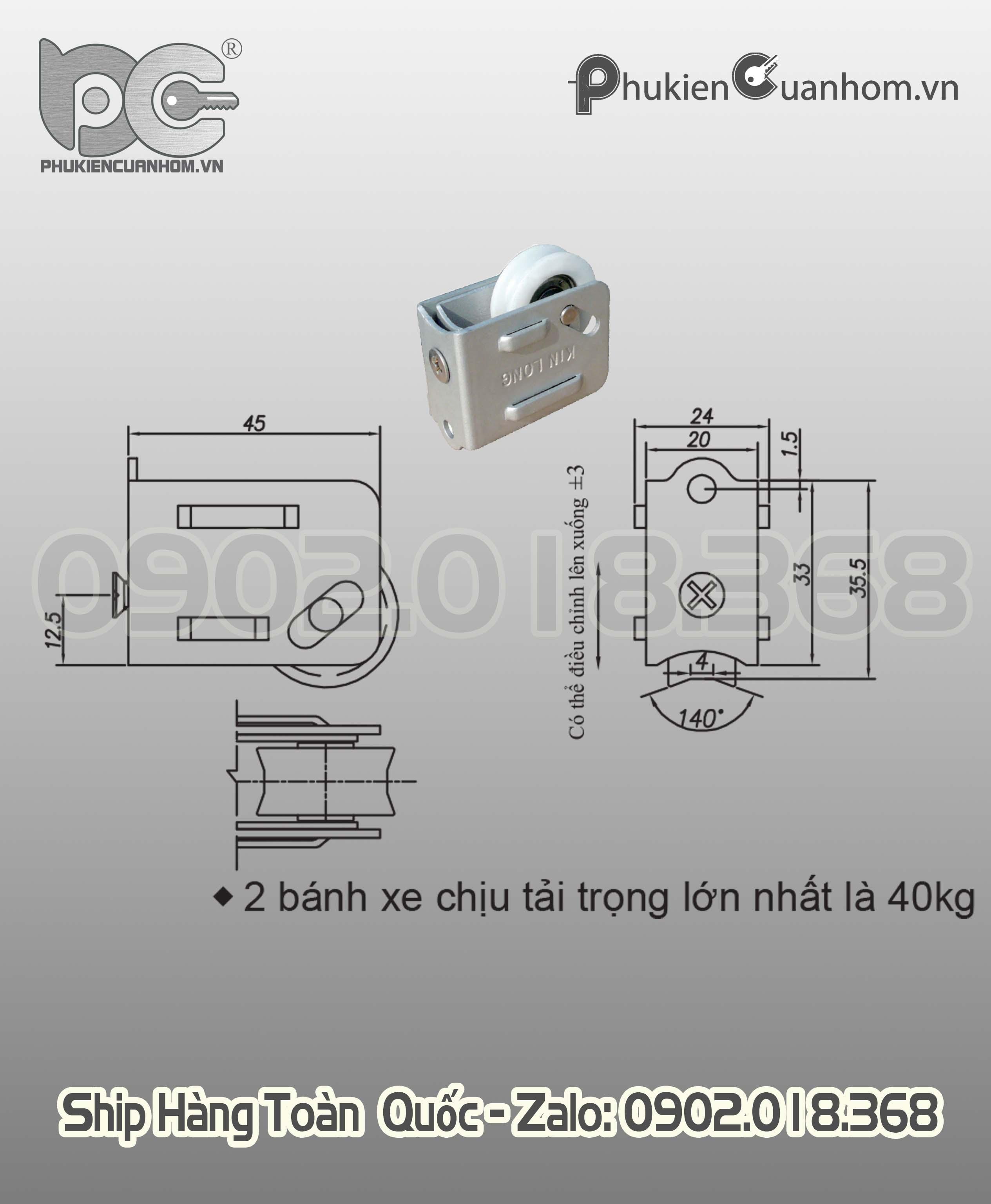 Bánh xe đơn cửa lùa hệ 2001 (93) hiệu KinLong chính hãng - CL50G33K-L4J140K4