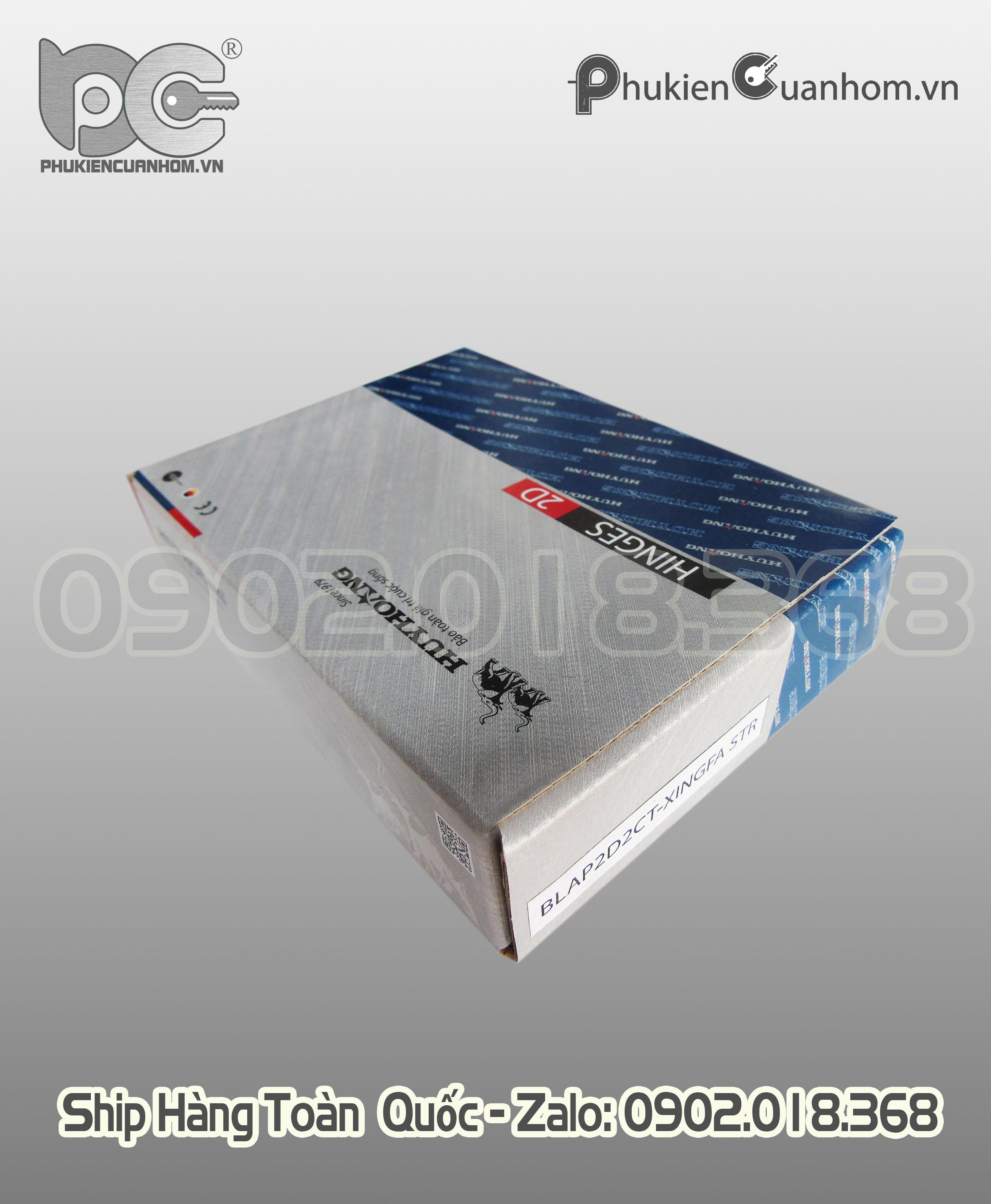 Bản lề 2D hiệu Huy Hoàng màu trắng - Cửa 1 và 2 cánh