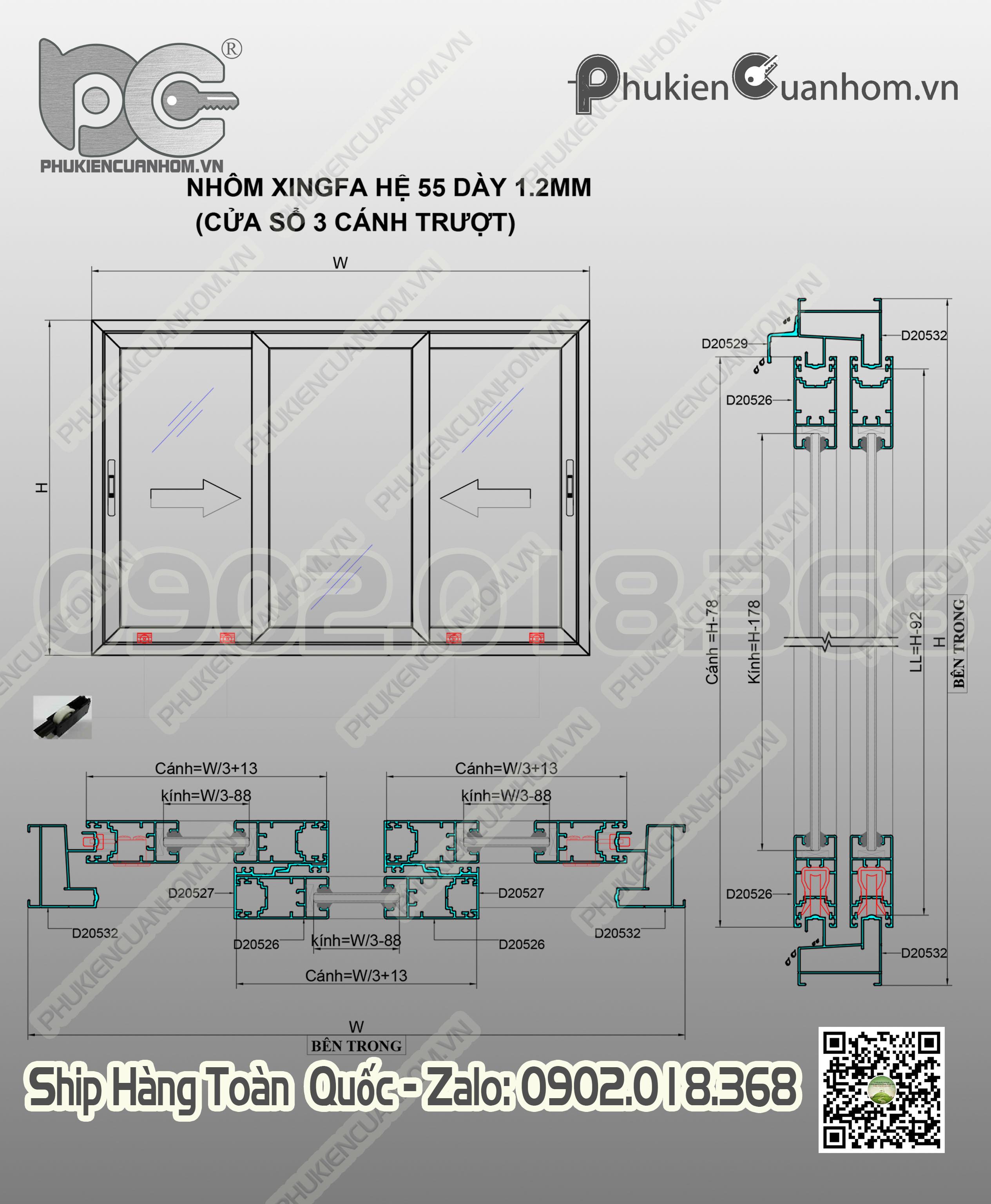 Cách trừ cánh cửa sổ lùa 3 cánh nhôm Xingfa hệ 55