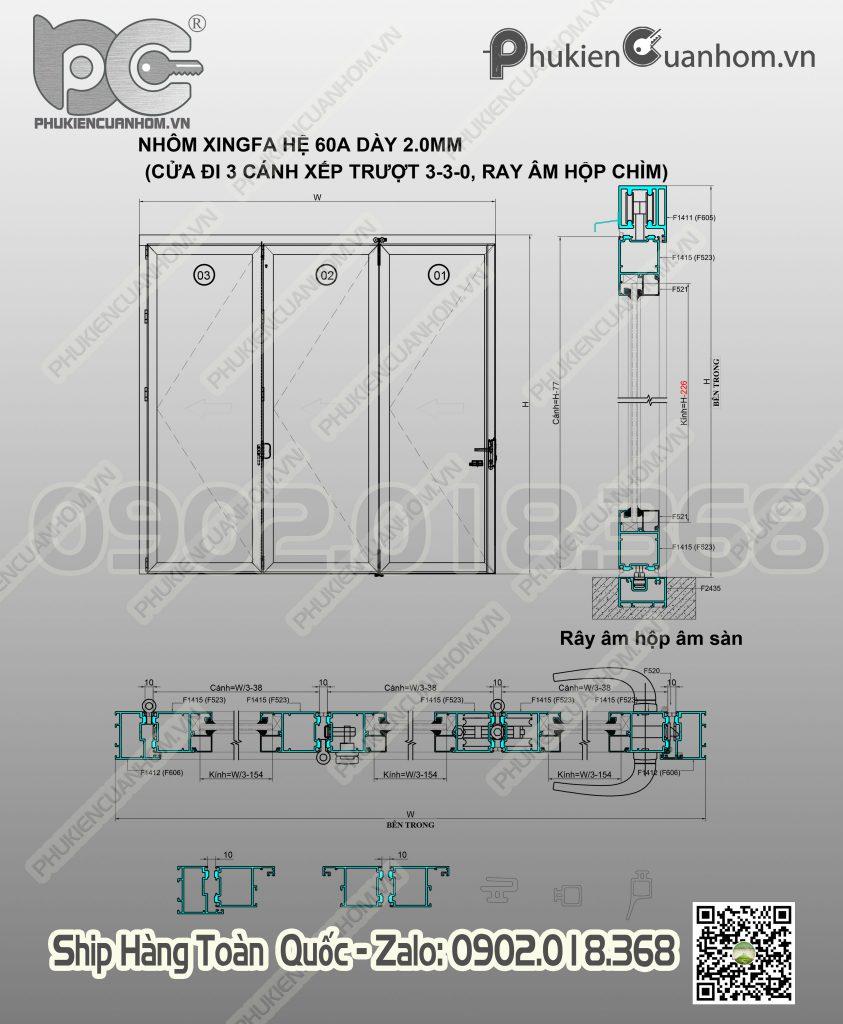 Công thức cắt cánh cửa xếp trượt 3 cánh nhôm Xingfa hệ 63
